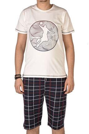 Tom John Ekru Erkek Şortlu Bermuda Pijama Takımı Kısa Kollu Cepli Pamuk