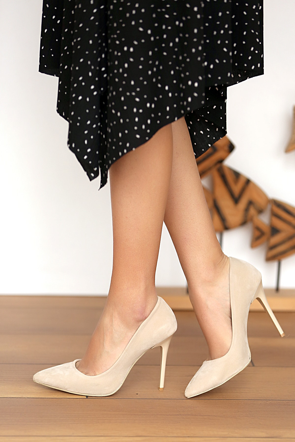 Pembe Potin Bej Kadın Topuklu Ayakkabı A1770-17 1