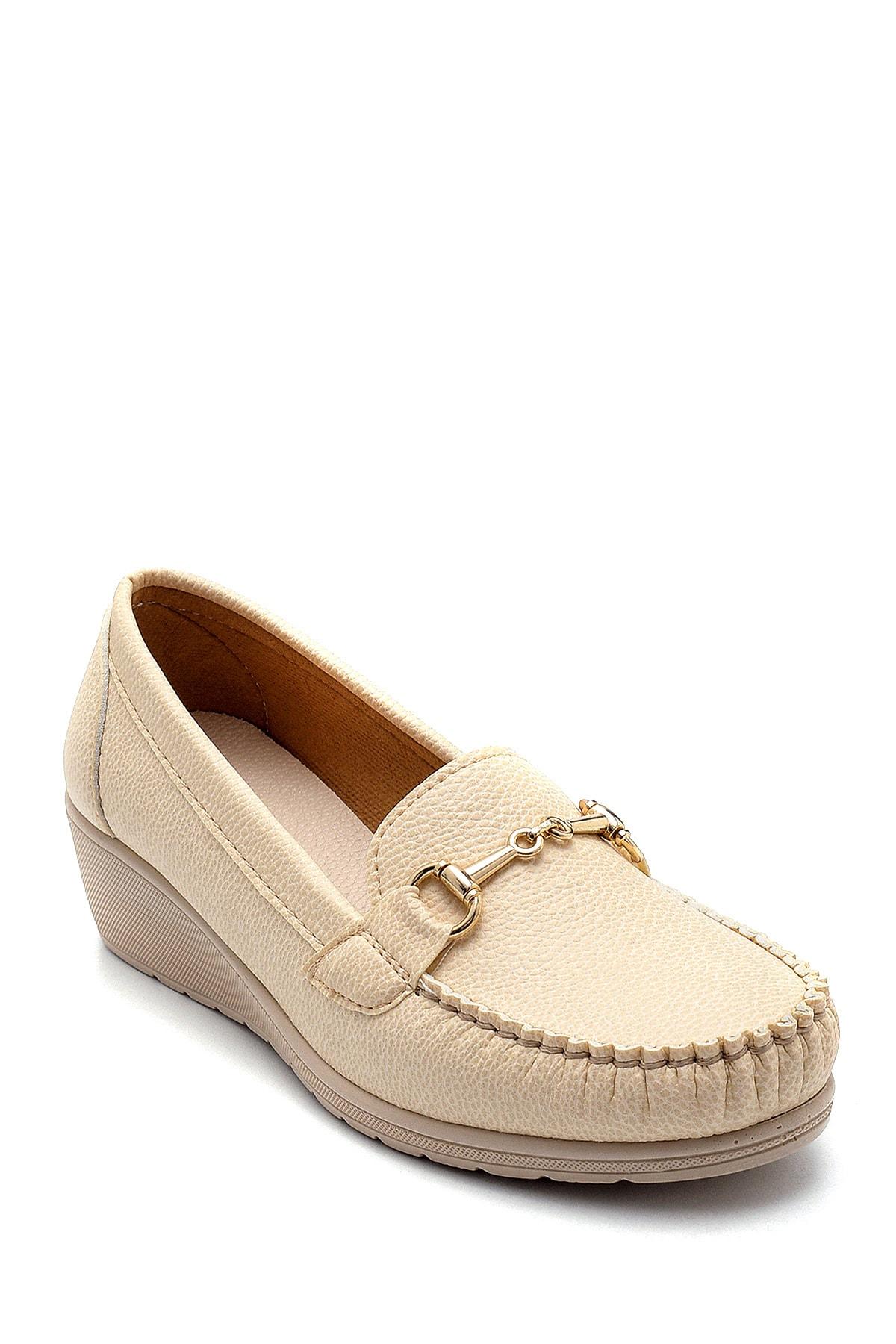 Derimod Kadın Bej Dolgu Topuklu Loafer Ayakkabı 2