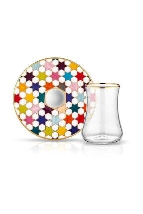 Koleksiyon1 Dervish Çay Seti 6 Lı Star Beyaz Parlak Altın