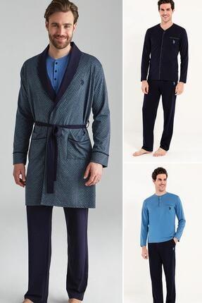 U.S. Polo Assn. Erkek Lacivert 2 Adet Uzun Kollu Pijama Takımı 1 Adet Robdeşambr 5'li Damat Çeyiz Set Takım