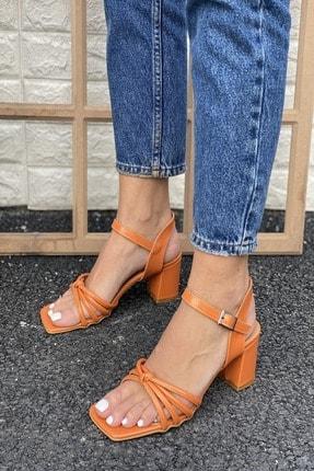 İnan Ayakkabı Kadın Turuncu Küt Burun Düğümlü Topuklu Ayakkabı