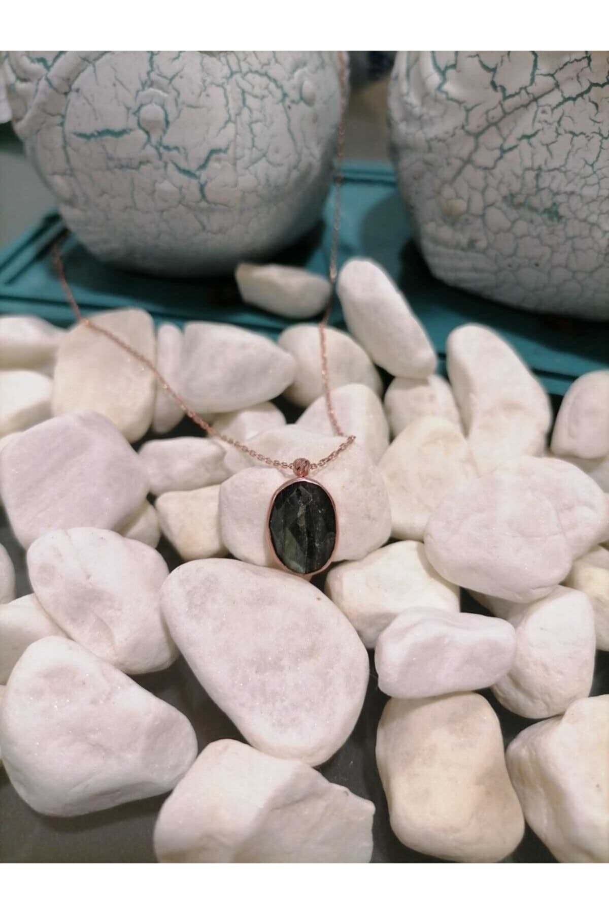 Simaria Takı 925 Ayar Gümüş Rose Kaplama Tanzanit Taşlı Kolye 1