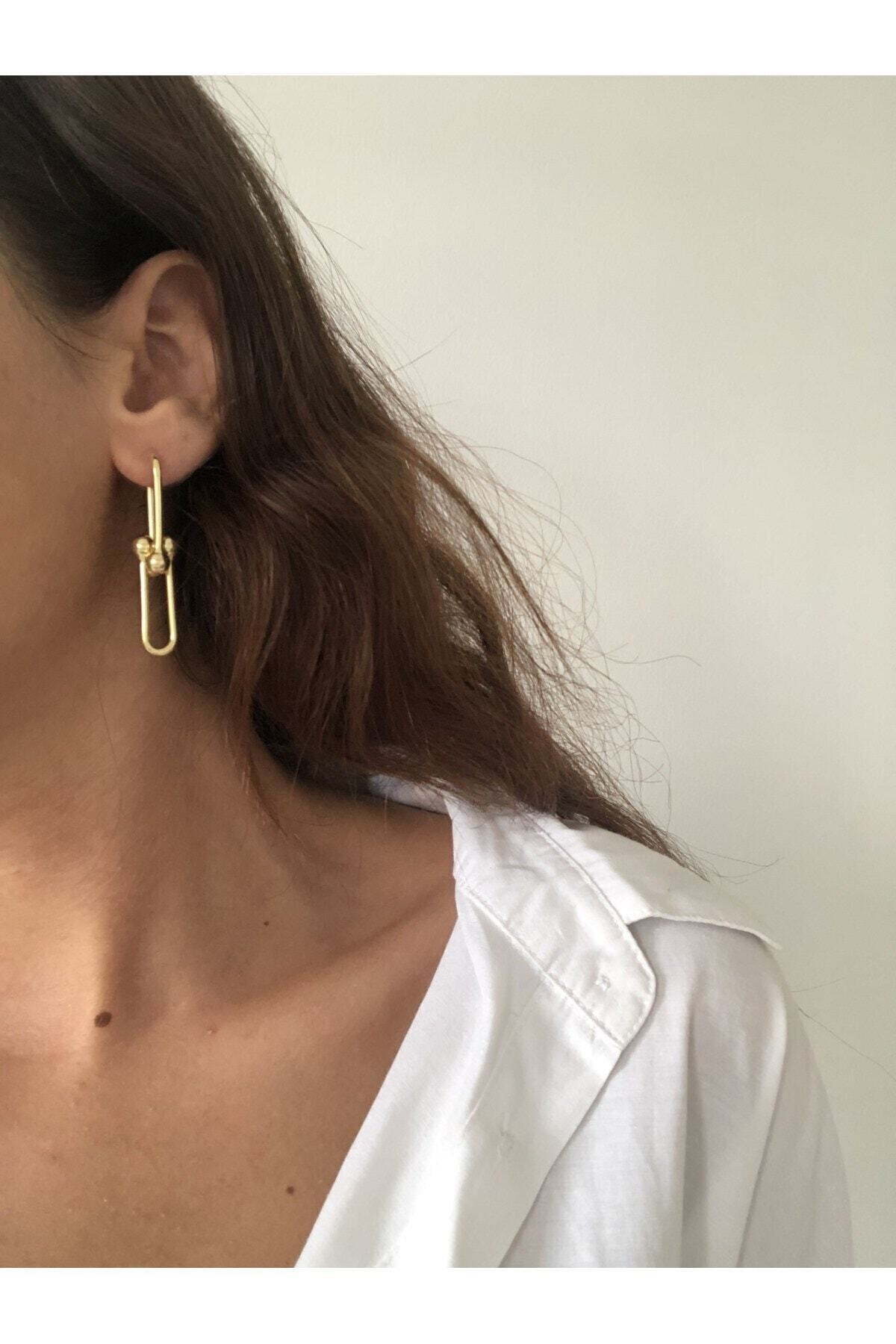 The Y Jewelry Kadın Gold Tiffany Küpe 2