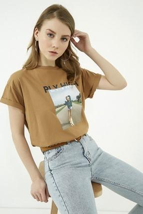 Vis a Vis Kadın Kahverengi Baskılı Tshirt