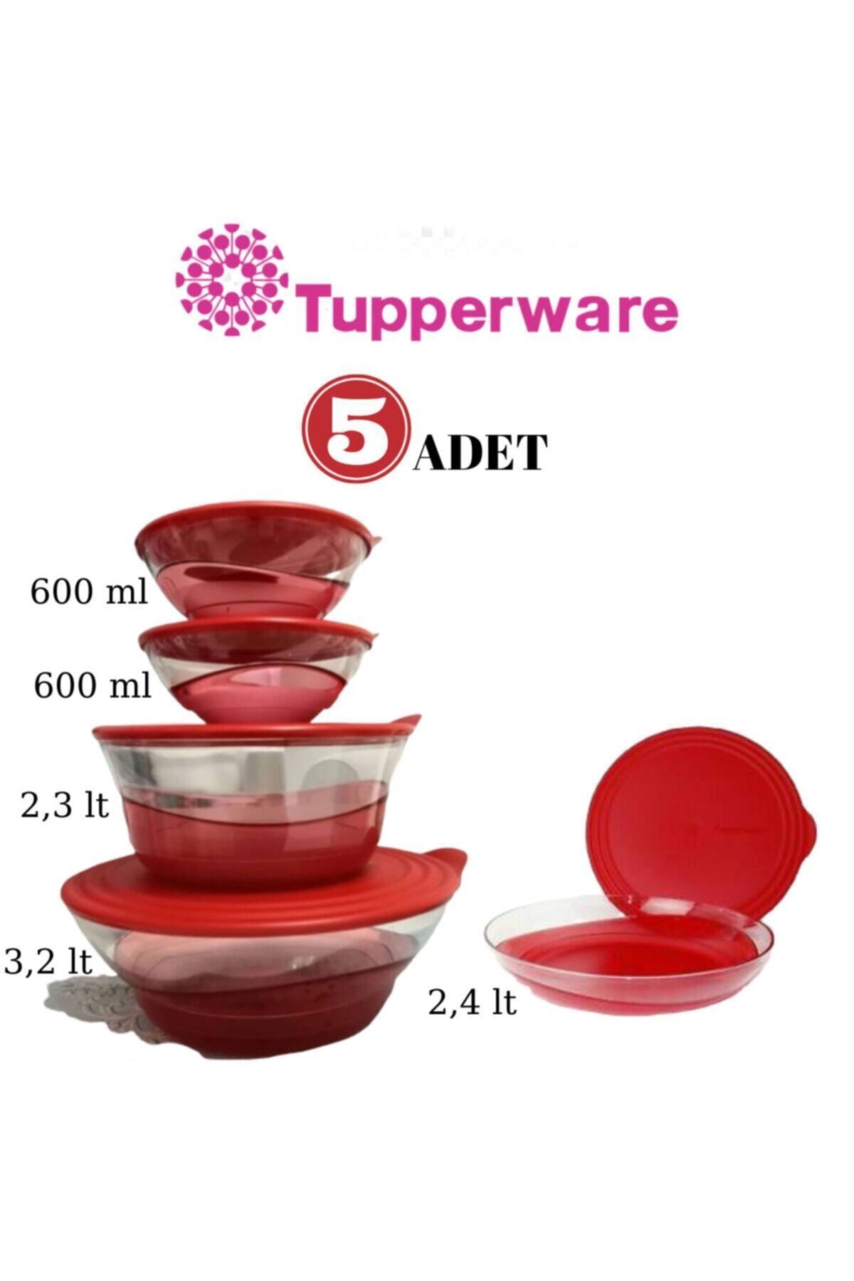 Tupperware Kristal Damla Servis Seti - 5'li - Kırmızı 1