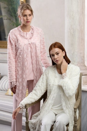 Feyza Pijama Kadın Welsoft 3'lü Lohusa Pijama Takımı