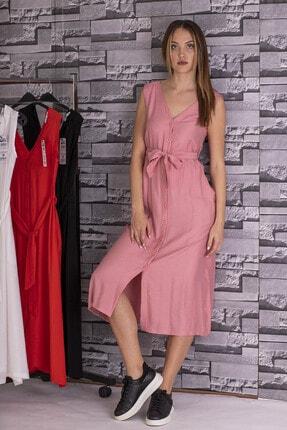 STAMINA Kadın V Yaka Kolsuz Düğmeli Elbise