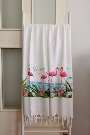 Melis Home Peştemal Banyo Havlusu , Plaj Havlusu  95x180 Flamingo Baskılı