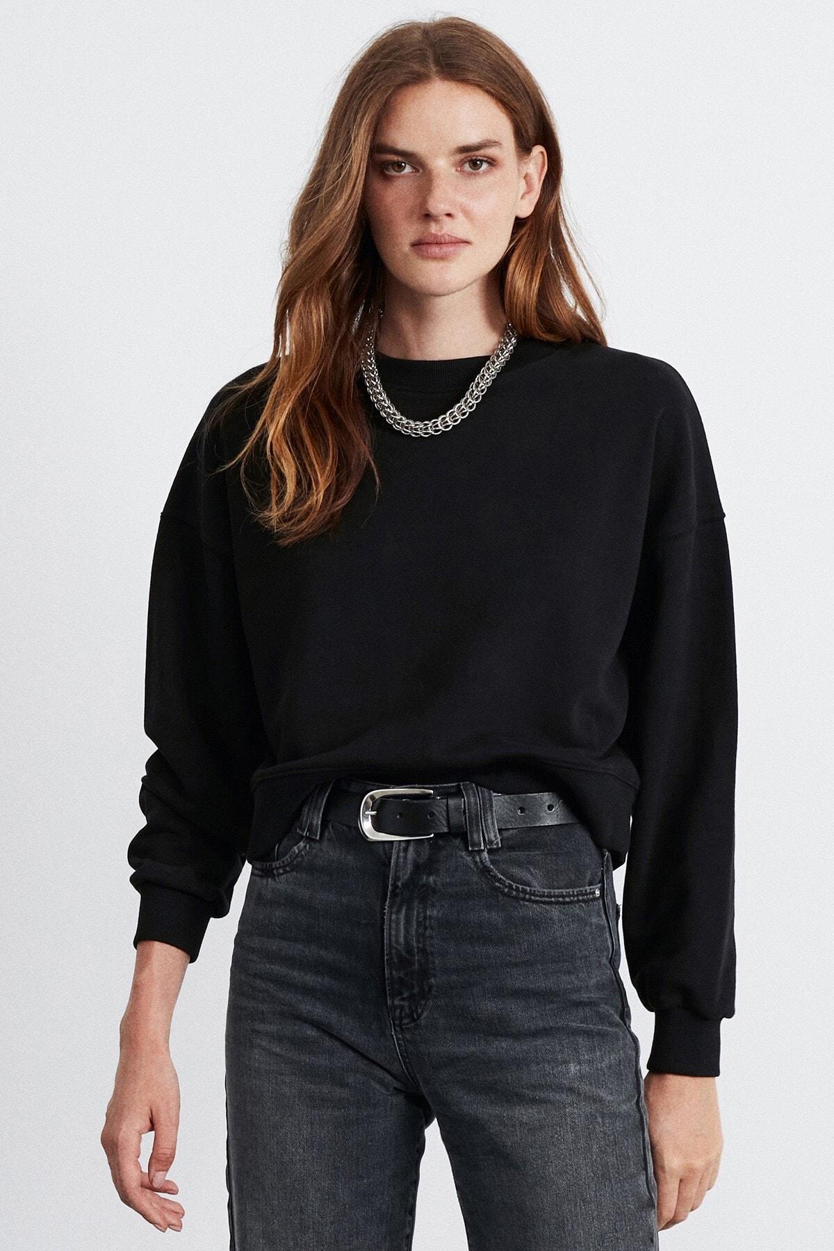 GRIMELANGE ELIZABETH Kadın Siyah  Basic Sweatshirt 1