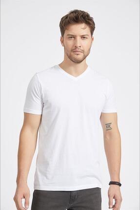 Avva Erkek Beyaz Ultrasoft V Yaka Düz Modal T-shirt A02b1173