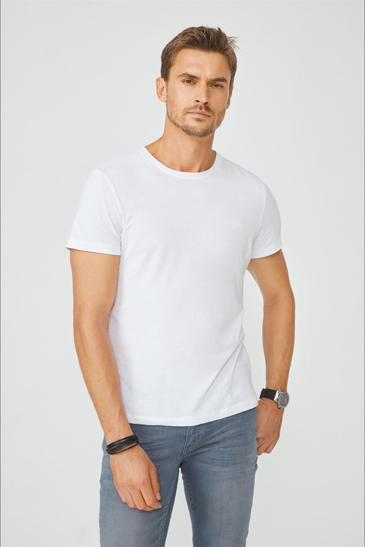 Avva Erkek Beyaz Bisiklet Yaka Düz T-shirt E001000 1