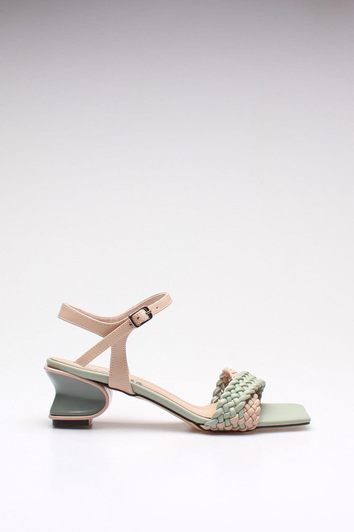 ROVIGO Kadın Mint Bej Cilt Klasik Ayakkabı 2