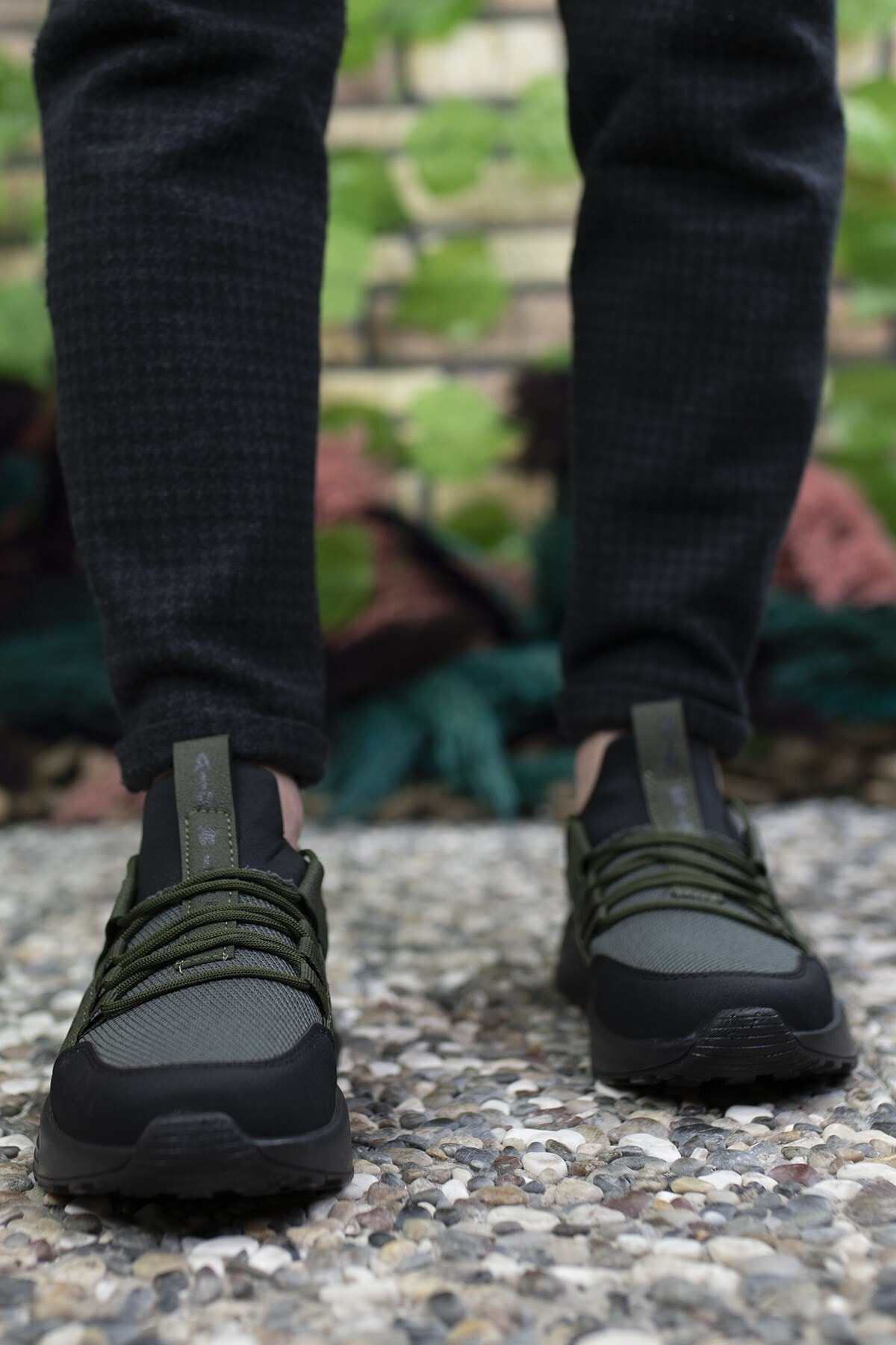Riccon Unisex Haki Siyah Sneaker 0012072 2