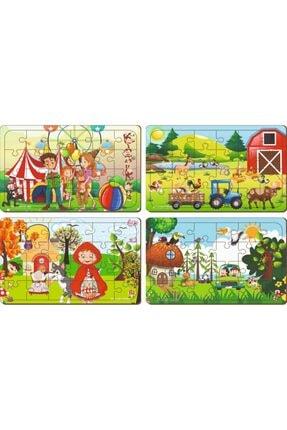 MAKETÇİNİZ 4 Adet 24 Parça Ahşap Puzzle Yapboz Set-6