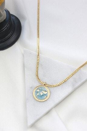 Dazzlecave Mavi Dünya Madalyon Kolye