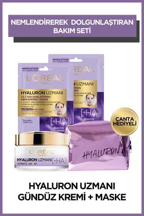L'Oreal Paris Hyaluron Expert Gündüz Kremi & Kağıt Maske Hyaluron Çanta Set