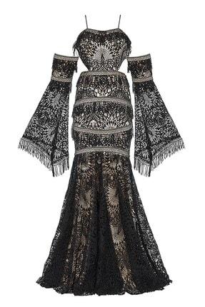 Abiye Sarayı Kadın Siyah Bel ve Kol Detaylı Askılı Balık Uzun Abiye Elbise