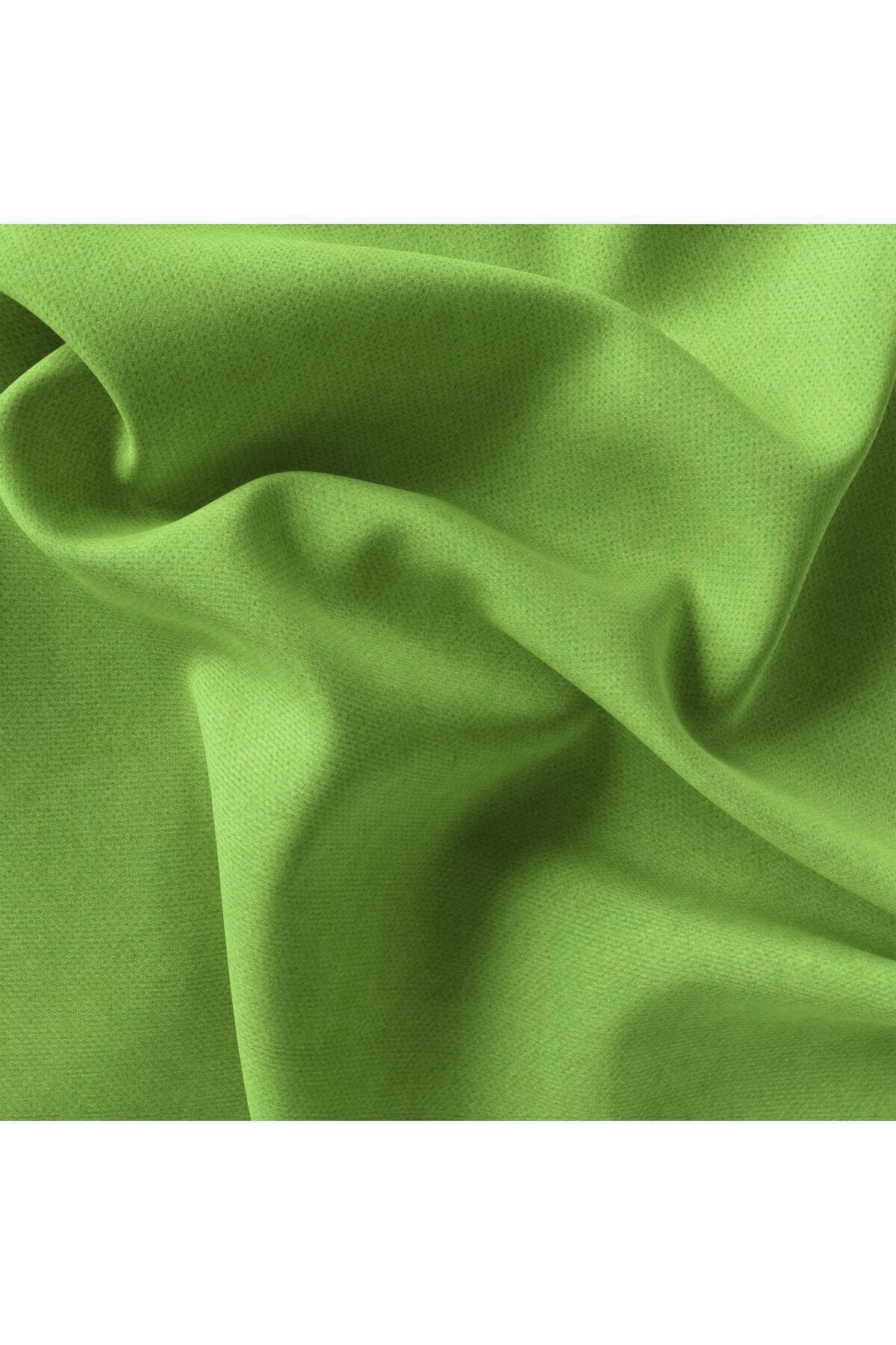 Belle Cose Kadife Dokulu Fon Perde Pilesiz Dikim Tek Kanat Fıstık Yeşili 2