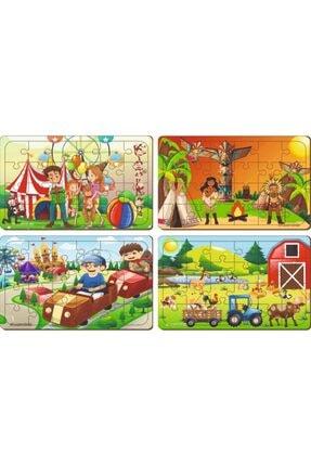 MAKETÇİNİZ 4 Adet 24 Parça Ahşap Puzzle Yapboz Set-8