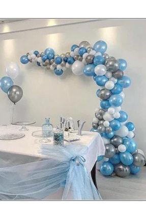 Frozen Partylandtr 75 Adet Metalik Mavi,gümüş,beyaz Balon Ve 5 Metre Balon Zinciri, Balon Yapıştırma Bantı