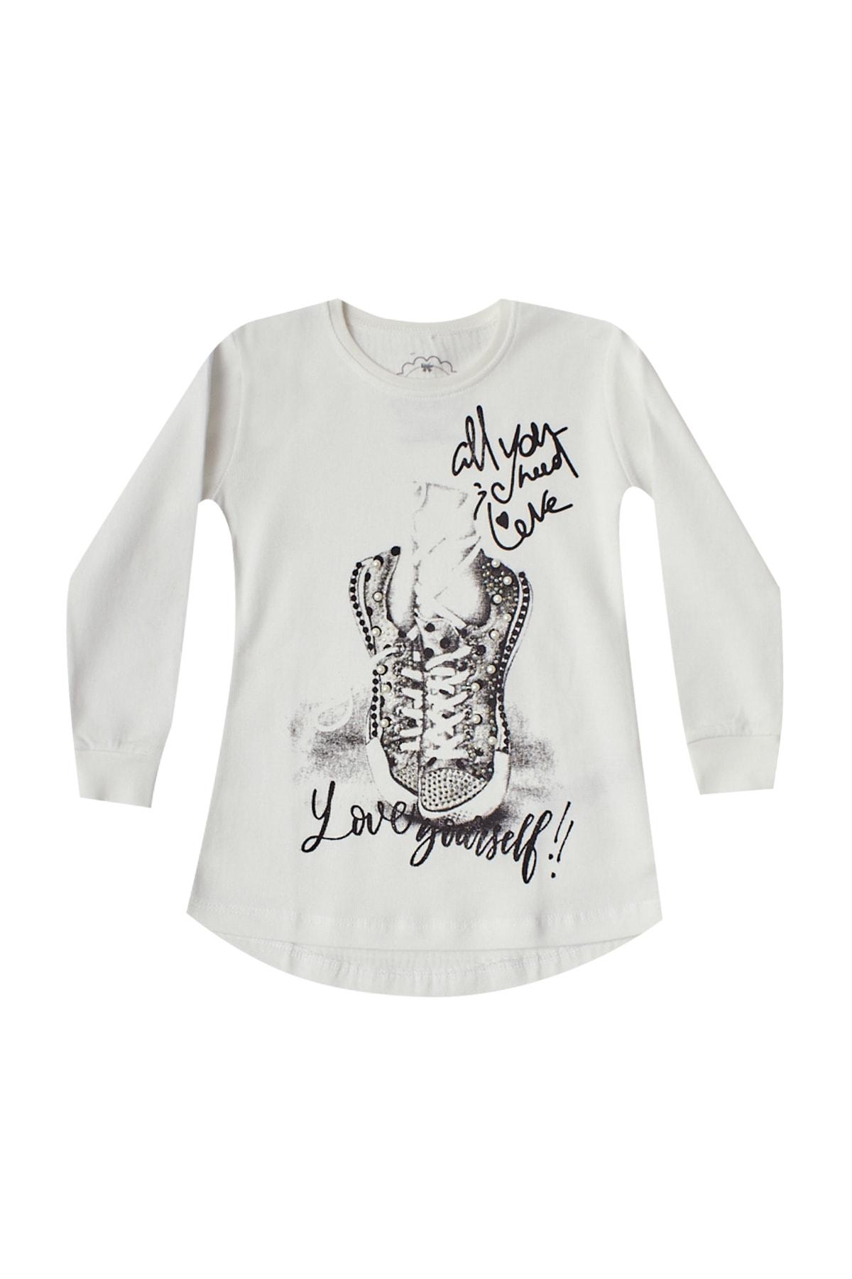 Pattaya Kids Kız Çocuk Beyaz Içi Şardonlu Selanik Sweatshirt P-pm06368