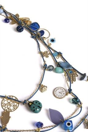 Marjin Kadın Mavi Ve Altın Renkli Üç Katlı Çok Figürlü Boncuk Kolyemavi