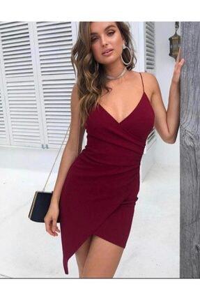 bayansepeti Kadın Kruvaze Yaka Detaylı Asimetrik Kesim Ince Askılı Esnek Krep Kumaş Bordo Mini Elbise 073