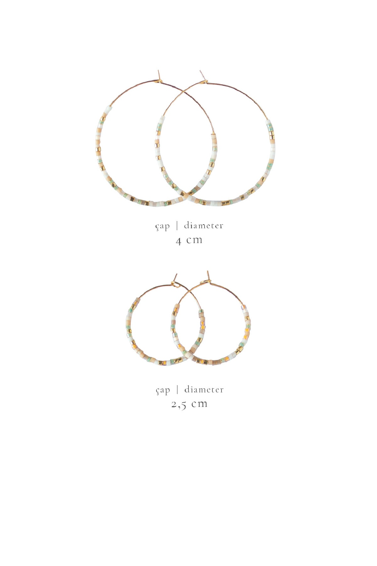 Gui Jewellery Noah Bej Halka Küpe (küçük) Gümüş Üzeri Altın Kaplama 2