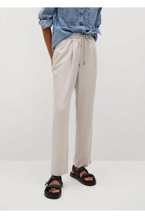 MANGO Woman Kadın Buz Grisi Bağcıklı Dökümlü Pantolon