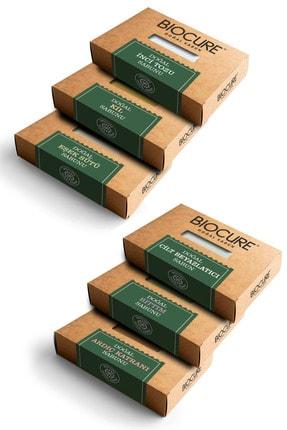 Biocure Doğal Eşek Sütü Inci Tozu Ardıç Katranı Cilt Beyazlatıcı Kil Bıttım Sabunları 100g X 6 Adet