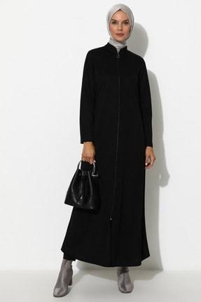 Miss Cazibe Kadın Siyah Fermuarlı Ferace Siyah Miss Cazibe 308060