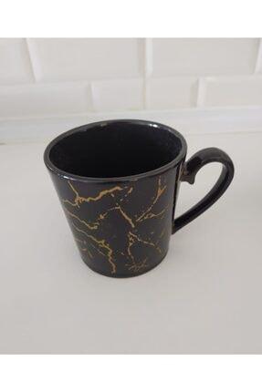 Keramika 8 Cm Mermer Desen Siyah Kupa