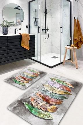 EVİMOD Terra Spring Yapraklı Yıkanabilir 2li Banyo Halısı Paspas Klozet Takımı X