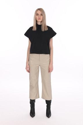 Manche Siyah Kadın Dik Yakalı Gömlek