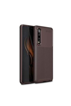 Huawei Nihcase P30 Ultra Soft Negro Karbon Silikon Kılıf Kahverengi + Nano Ekran Koruyucu