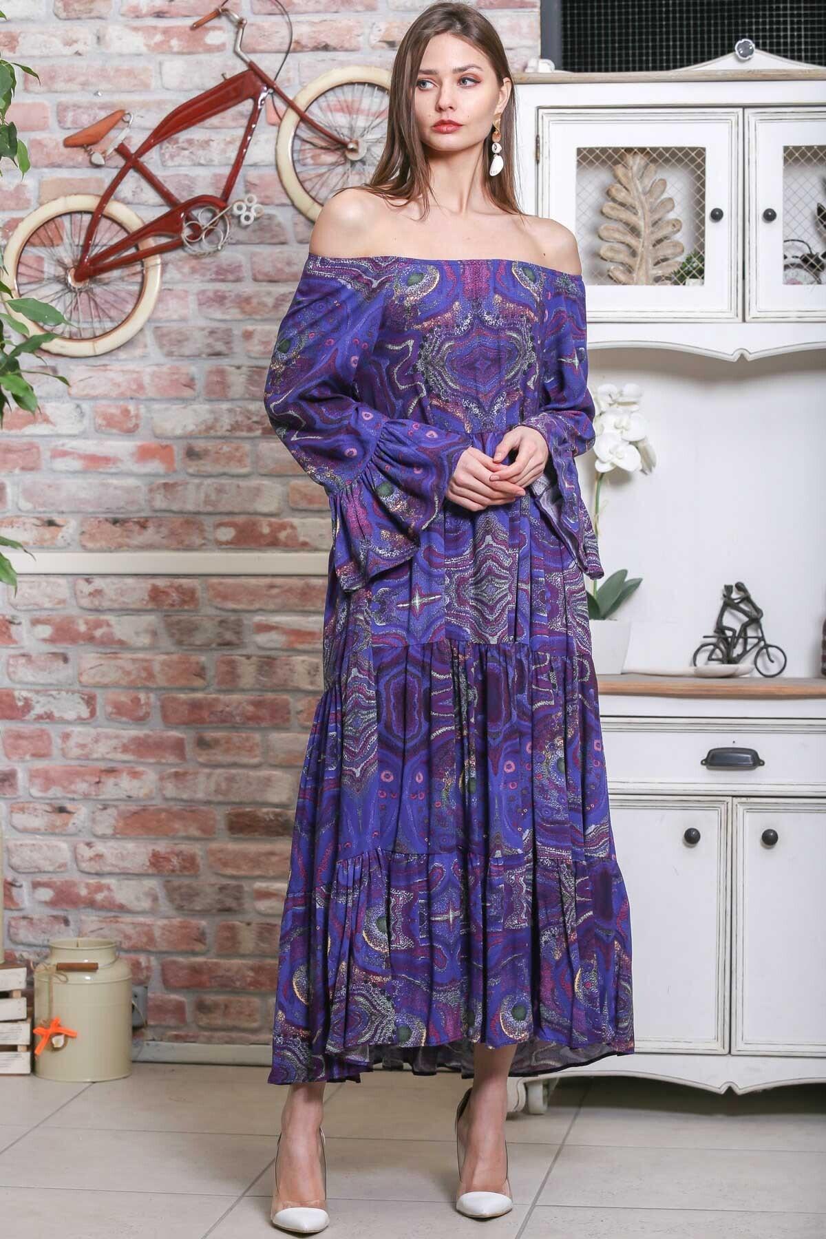 Chiccy Kadın Mor Carmen Yaka Sulu Boya Desenli Kol Ucu Volanlı Salaş Dokuma Elbise M10160000EL95906