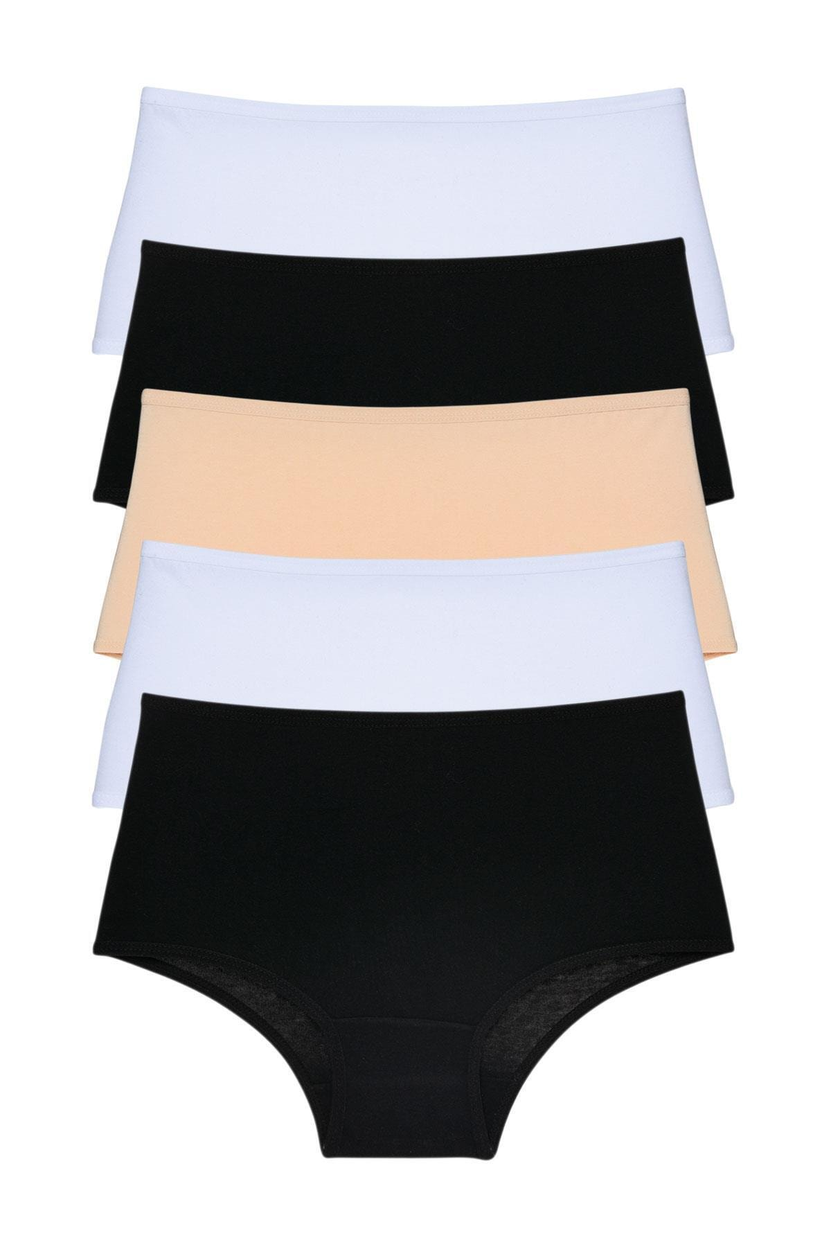 LadyMelex Kadın Siyah Beyaz Ten Yüksek Bel Külot 5'li Paket 1