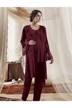 Artış Bordo Lohusa Viskon 3lü Sabahlık Pijama Takım-8301-3