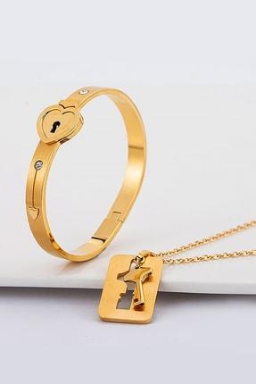 Chavin Kadın Altın Anahtarlı Kelepçe Çelik Kolye ve Bileklik Set ch79sr
