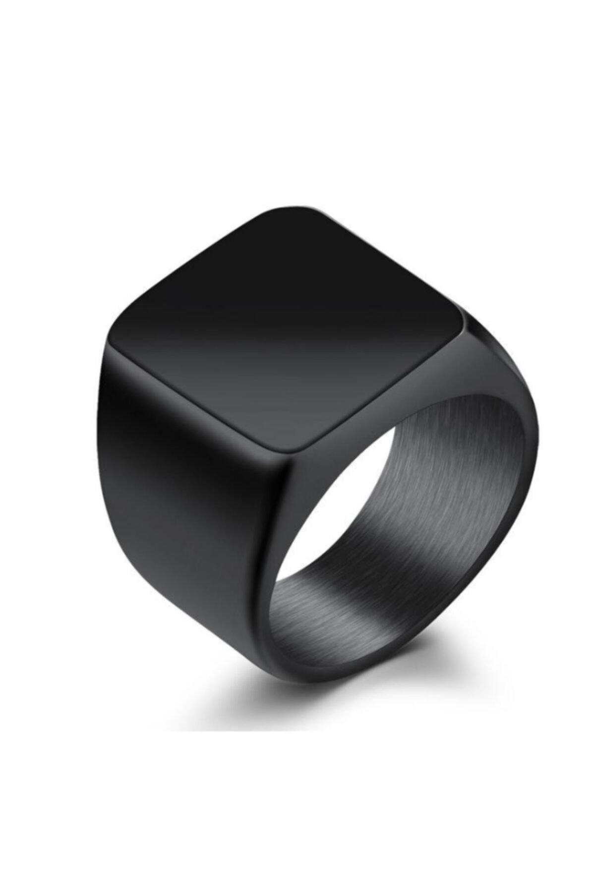 Chavin Parlak Siyah Kadın Erkek Çelik Yüzük dc52 1