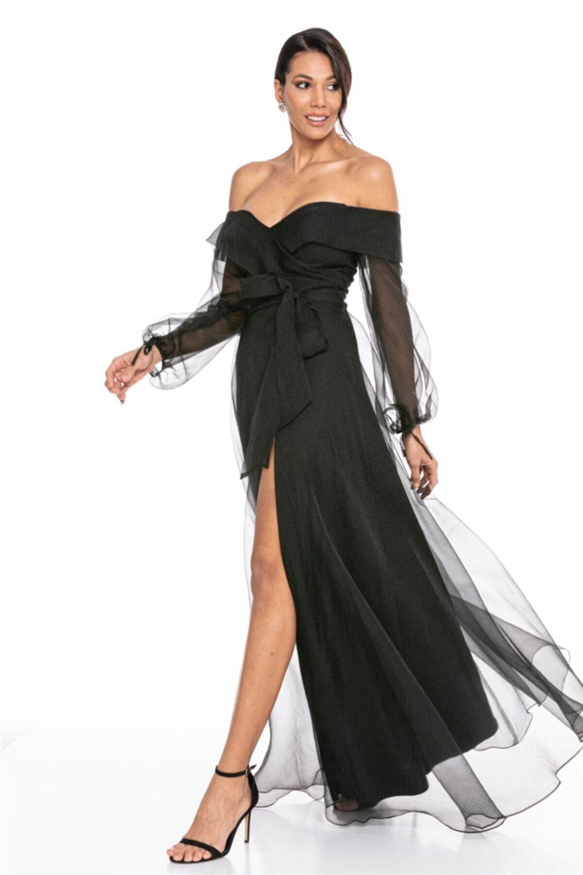 Abiye Sarayı Siyah Kayık Yaka Yırtmaç Ve Kemer Detaylı Tül Uzun Abiye Elbise 1