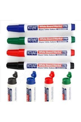 KRAF Doldurulabilir Beyaz Tahta Kalemi 4 Renk Set