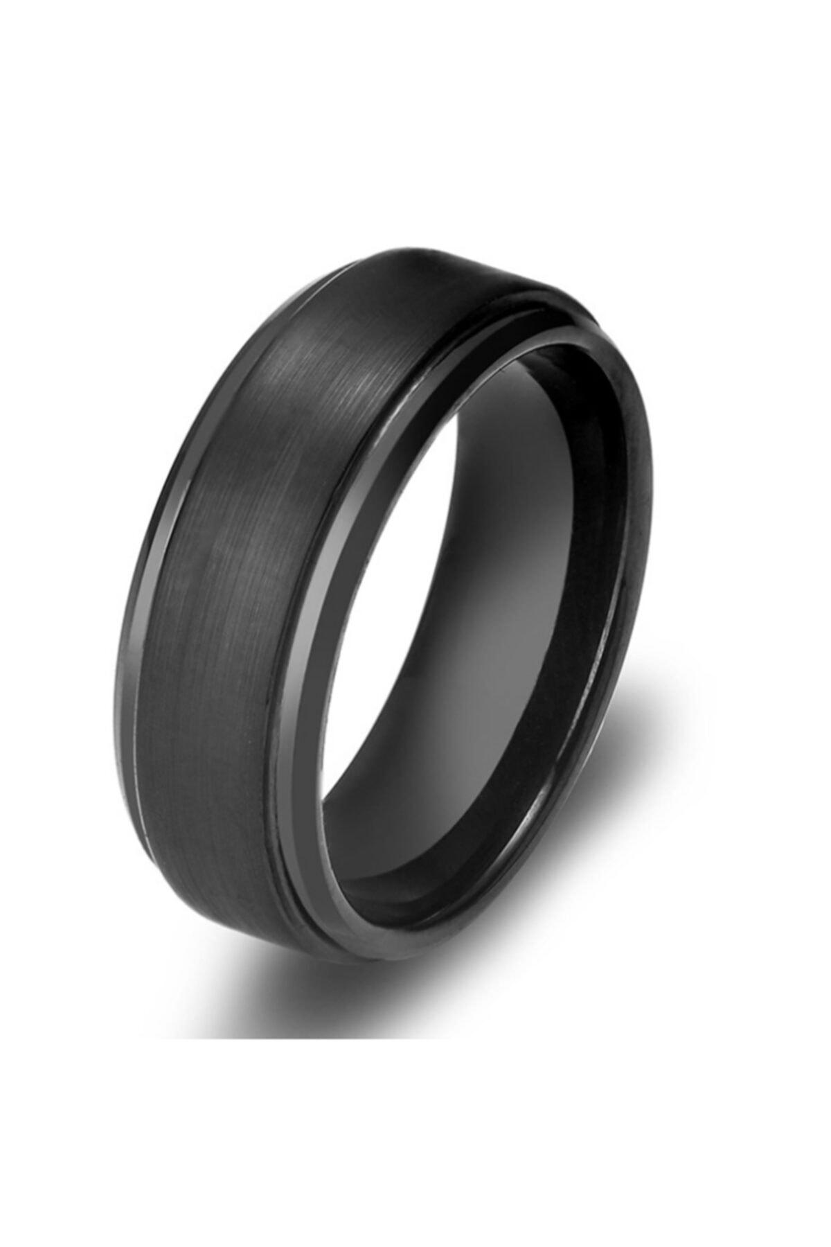 Chavin Erkek Mat Siyah Fırçalanmış Tungsten Yüzük dm75 1