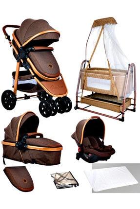 Baby Home Bebek Kahverengi Travel Sistem Bebek Arabası ve Maya Anne Yanı Sepet Beşik 7'li Set