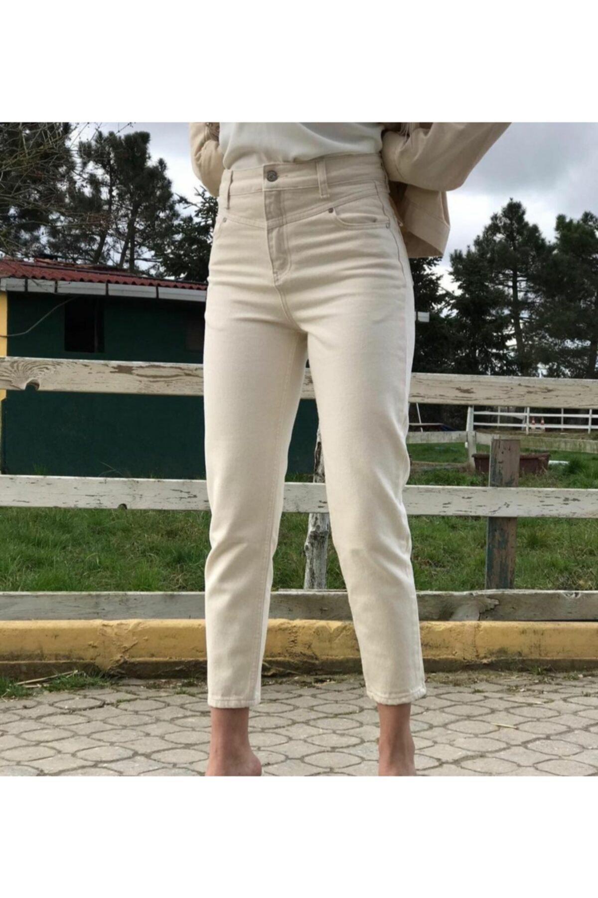 asse moda Kadın Krem Mom Jeans 1