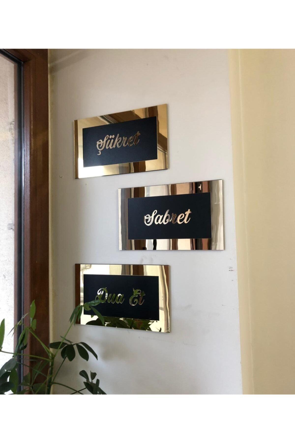 stilinbu Tablo Şükret Sabret Dua Et Pleksi Aynalı Gold 1