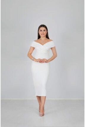 giyimmasalı Kayık Yaka Kalem Elbise - Beyaz