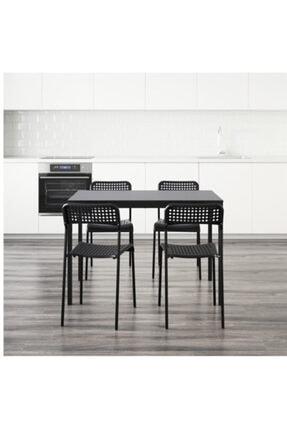 CENSEL MAKİNA Tarendö/adde Yemek Masası Ve Sandalye Seti, Siyah