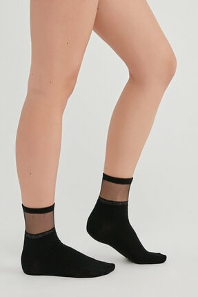 Penti Kadın Siyah Seffaf Shıny Soket Çorap